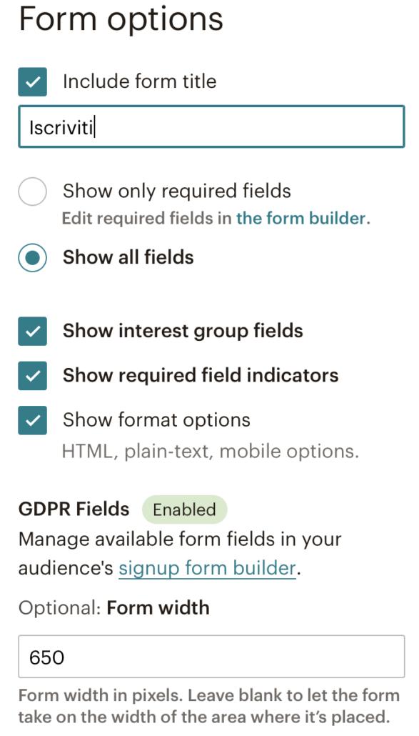 Impostazioni form di Mailchimp