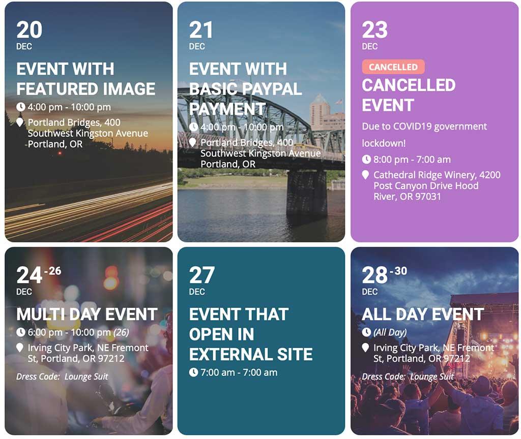 Calendario eventi realizzato con EventON