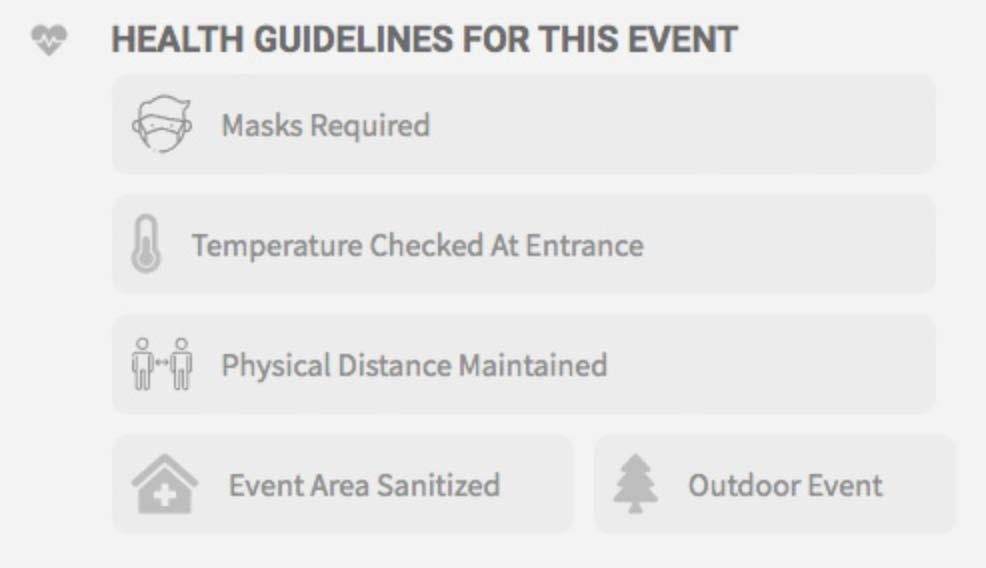 Calendario eventi con informazioni Covid