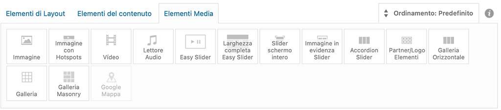 Elementi Media dell'Avia Builder di Enfold