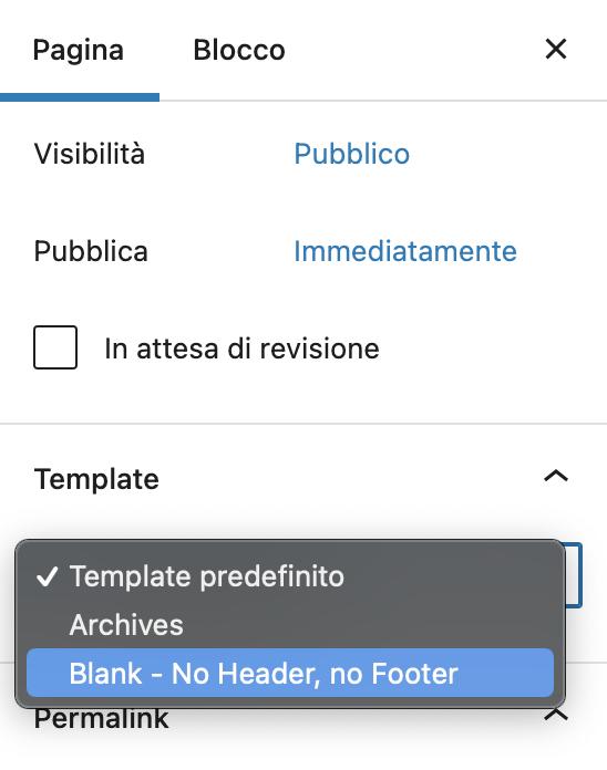 Template di pagina senza header e footer su WordPress